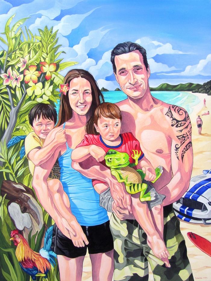 Portrait Famille guillaume Sadeler Kailua 122 x 91cm_700px